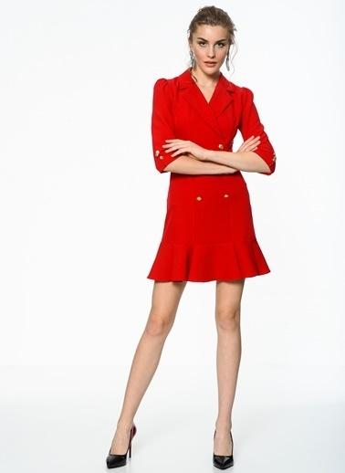 Volanlı Kruvaze Elbise-İroni